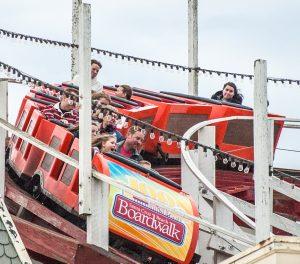giant dipper roller coaster train